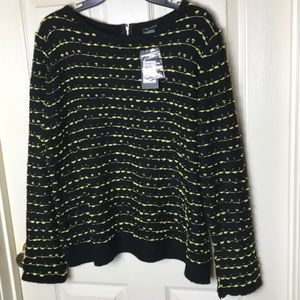City Chic Sweater Citron/black with Zipper Back